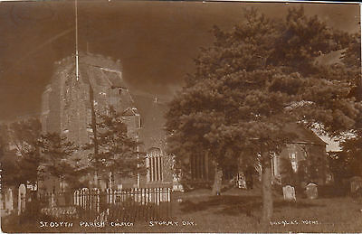 Postcard St Osyth Church St.Peter & St. Paul Stormy Day RP card by Douglas Went