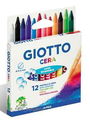 GIOTTO - Premium Quality 12 Wax Crayons - Bright Colors and Super Washable!!