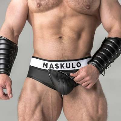 Maskulo Rubber-Look Briefs with Cod Piece Pouch and Zip-Up Rear