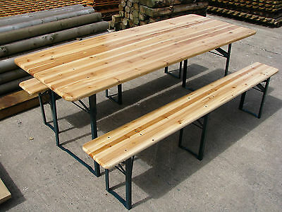 Large Outdoor Wooden Folding Beer Table Bench Set (Collect from Store)