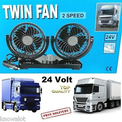 Hi Power Lorry Truck 24V Dual Twin Fan With 2 Speed For Trucker 24 Volt