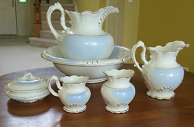 Lovely 6-Piece Antique Victorian Pitcher & Washbowl Chamber Set Dresden Pottery