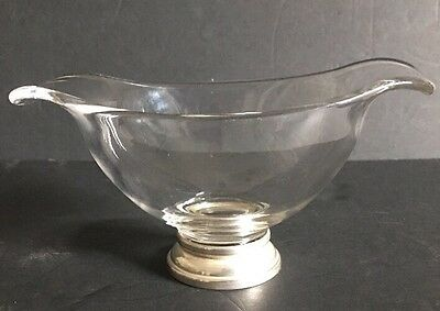 """Vintage Antique Gravy Boat Sauce Bowl with Sterling Silver Base 7"""" L x 3.25"""" T"""