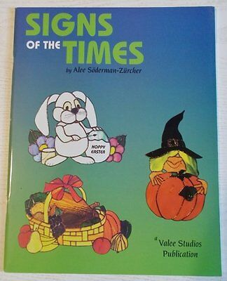 OOP 1996 Signs of the Times Stained Glass Pattern Book Holidays Halloween Easter