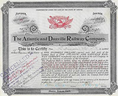 Atlantic and Danvelle Railway Company, share certificate dated 1895