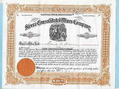 Sierra Consolidated Mines Company, share certificate dated 1909.