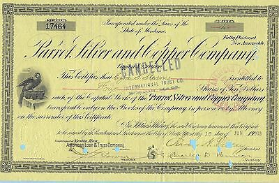 Parrot Silver and Copper Company, share certificate dated 1903.