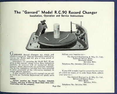 Factory Garrard RC 90 Turntable Record Changer Player Owner's Service Manual