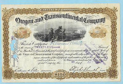 Oregon and Transcontinental Company, share certificate dated 1886.