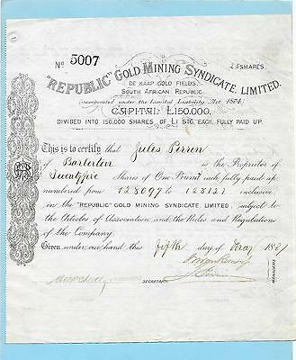 Republic Gold Mining Syndicate Ltd., share certificate dated 1887.