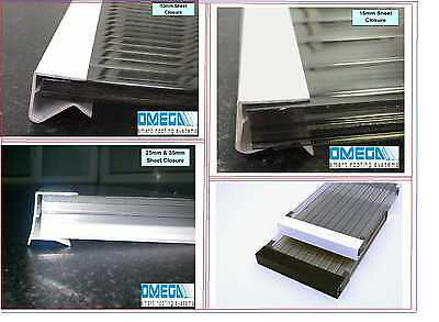 End Closure / Drip Channel for Polycarbonate Roofing Sheets - 2.1m | 10mm - 35mm
