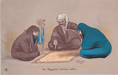Armenia Egypt Judaica 1930 Postcard Fortune Teller + David Star Manavian Sketch