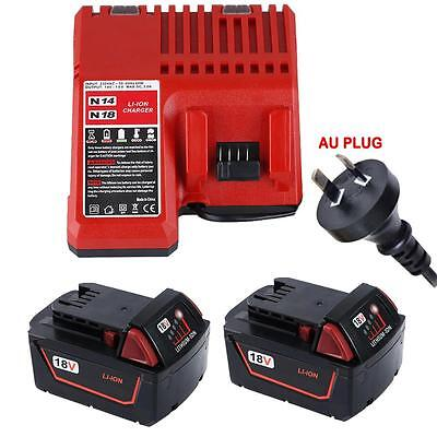 2xFor Milwaukee 18V 5.0AH  M18 48-11-1828 Red Lithium Ion XC 5.0 Battery+Charger