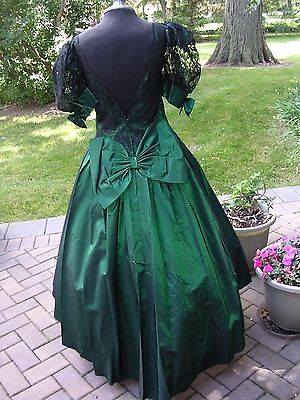 DARK GREEN TAFFETA & LACE Victorian Dickens Civil War Ballgown Dress  Med