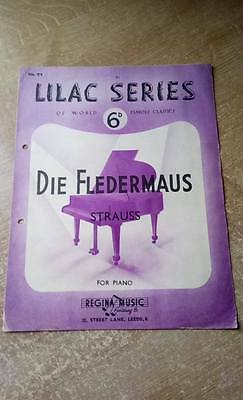 Lilac Series No.71 Die Fledermaus Strauss for Piano – Vintage Sheet Music