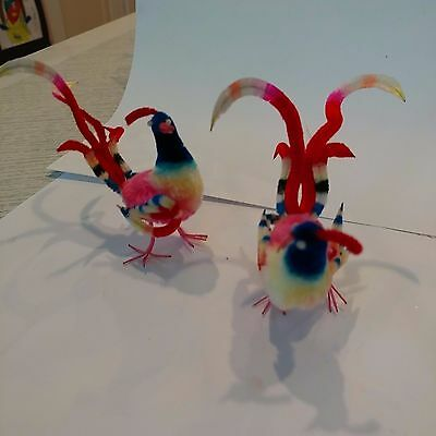 Vintage Old Chenille Christmas Tree Ornaments Tropical Bird Pair Colorful Pinks