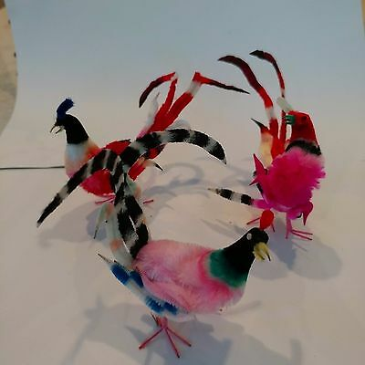 Vintage Old Chenille Christmas Tree Ornaments Tropical Birds Colorful Fancy
