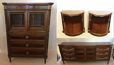 Vintage Karges  5 piece bedroom set king bed tall and low dresser nightstands