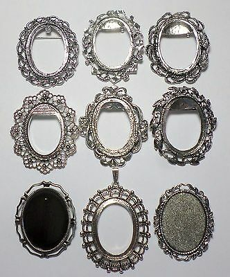 9 Different 40x30 mm Antique Silver Art Deco Brooch Pin or Pendant Settings Nice