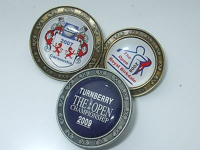 3 metal Stemmed BRITISH OPEN Golf Ball Markers 2007 2008 & 2009