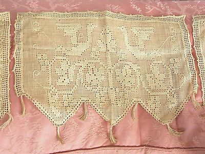 Antique Lace Doily Mantle Runner Scarf Set Drawn Thread Hand Made Figural Birds