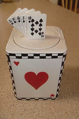 RARE Playing Cards Cookie Jar Pocker Ace of Spades Gambling Game Room Gift