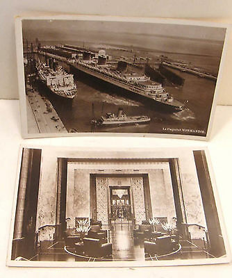 2 Vintage Photo Postcard Ss Normandie Foyer Entrance To Dining Room Interior