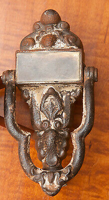Antique Cast Iron Victorian Door Knocker With Brass Name Plate