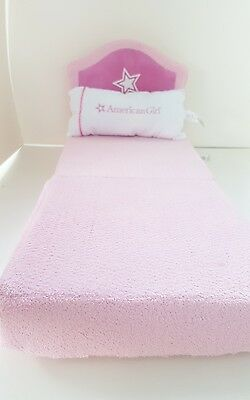 American Girl Baby Doll Bed Chair Pink Star Fold Out Foam Hotel w/Pillow Retired