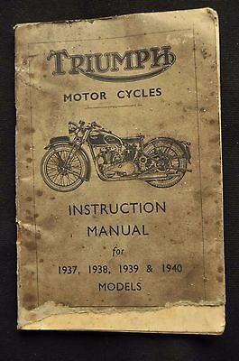 Triumph Motorcycles Instruction Manual 1937- 1940 Models PLUS OTHER MEMORABILIA