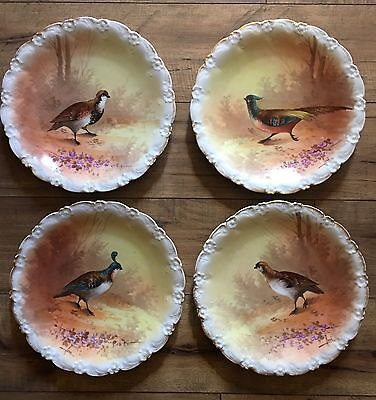 Coronet Limoges Hand Painted Signed Rene Set Of 4