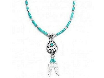 Bear Paw Necklace in Sterling Silver with Turquoise Beads
