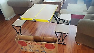 Vintage Handy Table Chair Set Folding Collapsible Camping Picnic Hipster Kitchen