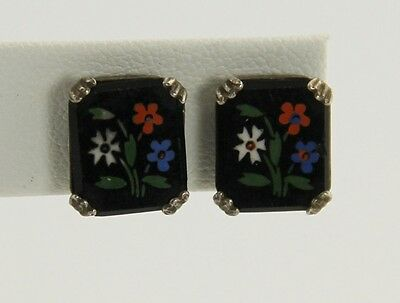 ANTIQUE ESTATE Jewelry VICTORIAN STERLING HAND PAINTED JET GLASS FLORAL EARRINGS