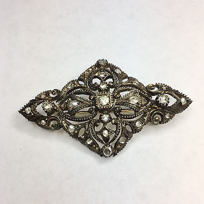 Antique 14K Gold And Sterling Silver Rose Cut Diamond Pin/Brooch