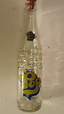 """Rare, Canadian (Peterborough, Ont) """"pop"""" 10 Oz Embossed Bottle-Blue & Yellow Acl"""