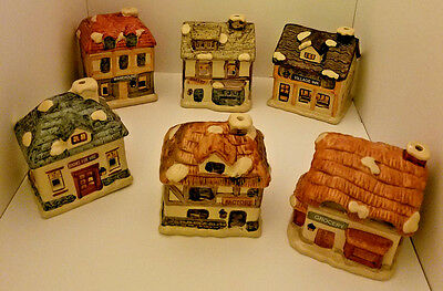 JSNY, Dickens Village, Christmas, Vintage, Ceramic Candle Holder, Set Of 6.