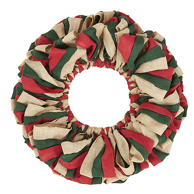 Red, Natural and Green Burlap Wreath 20