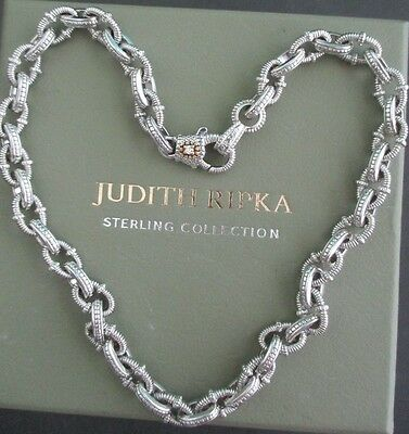 Judith Ripka JR TWO Sterling 18k Gold Chain Link Necklace w Diamond Accent w Box