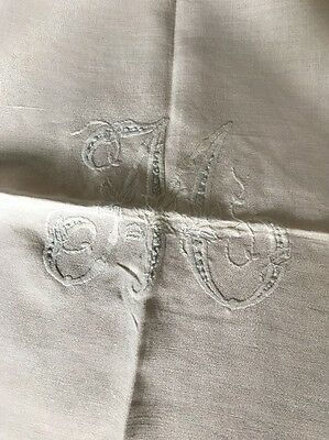Vintage Linen Embroidered Tablecloth
