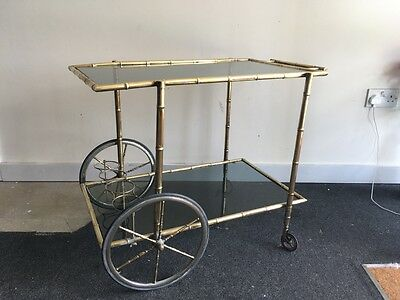 Vintage brass bamboo cocktail trolley or drinks cart French or Italian