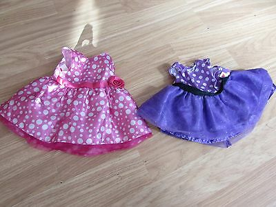 2 Spotted Teddy Bear Party Dresses 1 Pink/1 Purple By Design A Bear Chad Valley