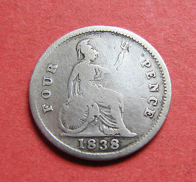 A 1838 Victoria silver groat (fourpence) coin
