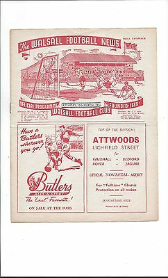 WALSALL v MILLWALL 1955/1956 Excellent condition