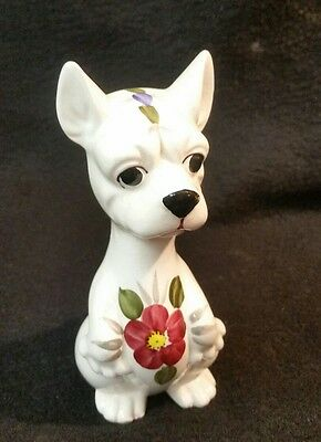 CHIHUAHUA Dog Brinns Figurine Porcelain With Painted Flower Vintage