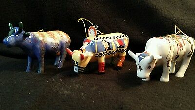 Vintage Cow parade Cow figurines Lot of 3 very unique painted Indian folk art