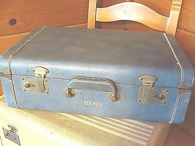 Vintage Blue Airliner Luggage Brand Small Suitcase Steampunk Train Nice Patina
