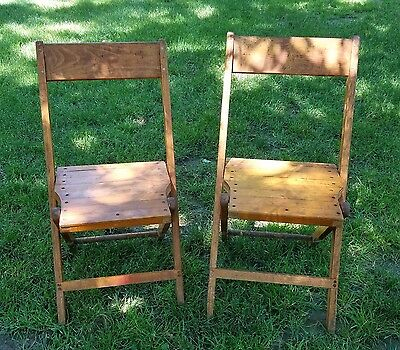 VINTAGE SNYDER WOODEN FOLDING CHAIRS Set of 2 PALMER SNYDER OAK CHAIRS