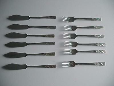 Vintage 12 Piece Viners Silver Rose Silver Plated Fish Knives & Forks