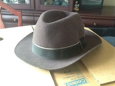Men's Vintage Fedora Hat 100% Wool Brown